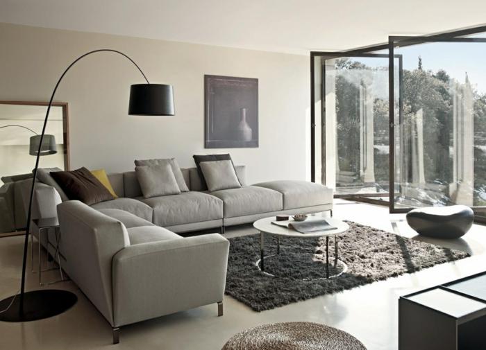 Charmant Graues Sofa Wohnzimmeer Einichten Beispiele Grauer Teppich