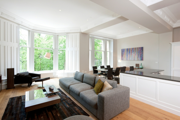 Graues Sofa Wohnzimmer Einrichten Ideen Dunkler Teppich Offener Wohnplan