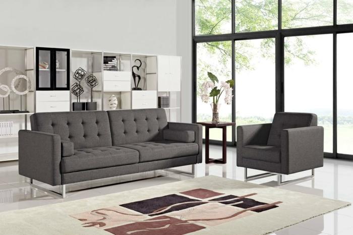 graues sofa wohnzimmer einrichten stilvoller teppich