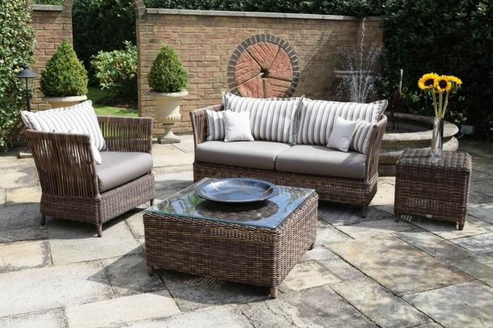 ikeikea gartenmöbel outdoor möbelset rattan geflochten sofa couchtisch sessel beistelltisch