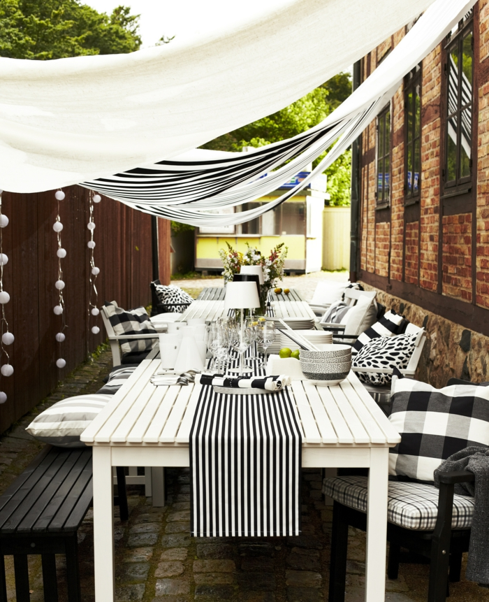 ikikea gartenmöbel outdoor möbelset weißer esstisch sonnensegel holzstühle sitzbank