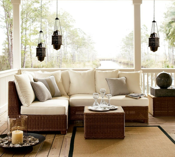 ikea gartenmöbel outdoor rattanmöbel sofa couchtisch metallene laternen
