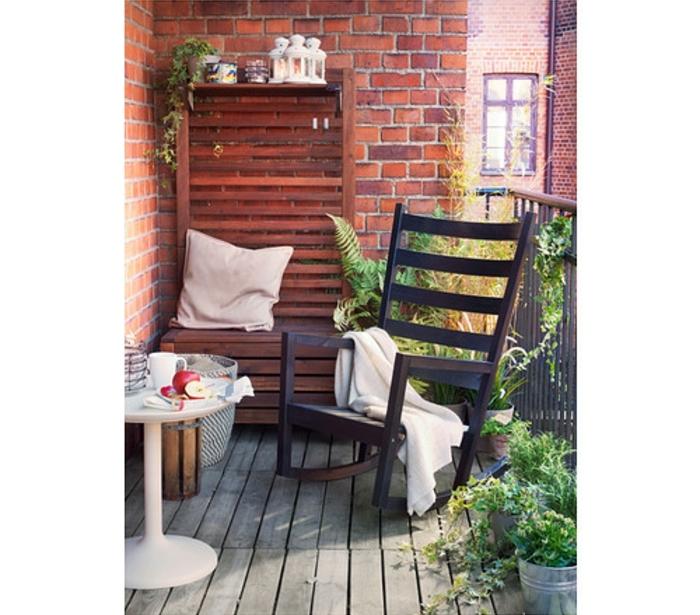 ikea sessel schaukelstuhl balkonmöbel schwarzbraun holz kunststoffleisten värmdö