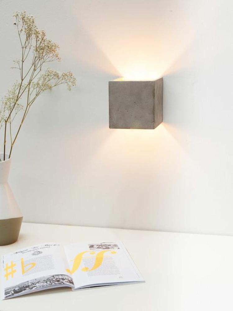 indirekte Beleuchtung led Wandlampe aus Beton Wohnzimmer