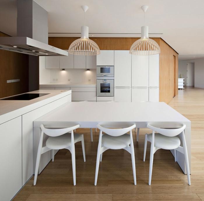 küchenbeleuchtung ausgefallene lampenschirme weißer esstisch