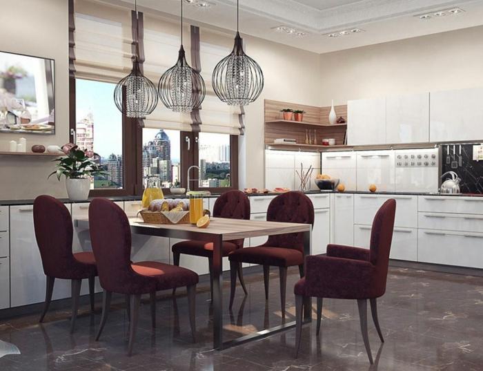 küchenbeleuchtung essbereich esstisch stilvolle küchenstühle