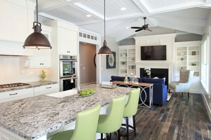 küchenbeleuchtung essbereich grüne stühle hängelampen