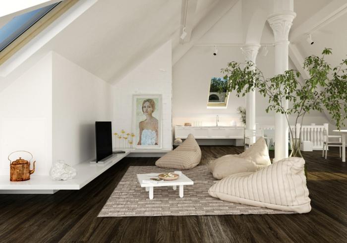kleine wohnung einrichten dachwohnung sitzsäcke beistelltisch weiße wände