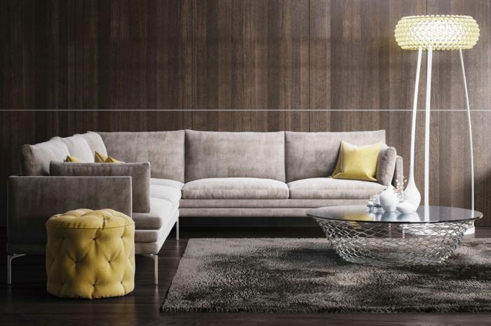kleine wohnung einrichten designer möbel sofa teppich runder couchtisch pouf