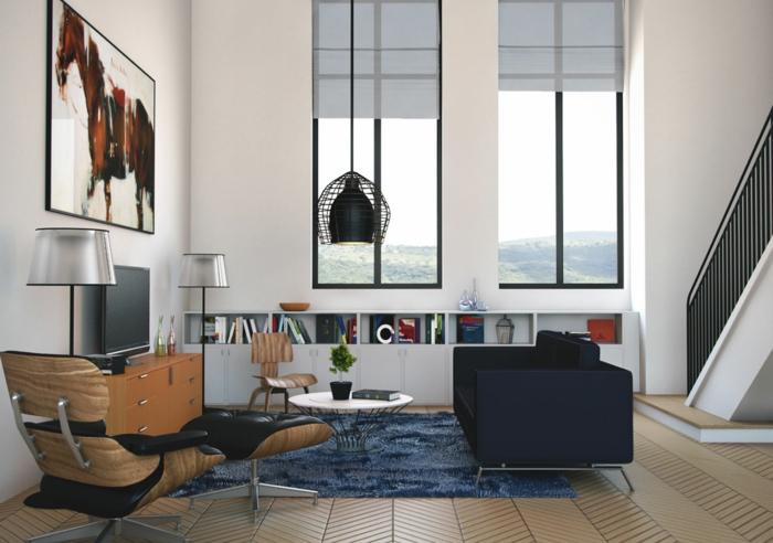kleine wohnung einrichten desinger möbel eames lounge chair hochflor teppich hängeleuchte