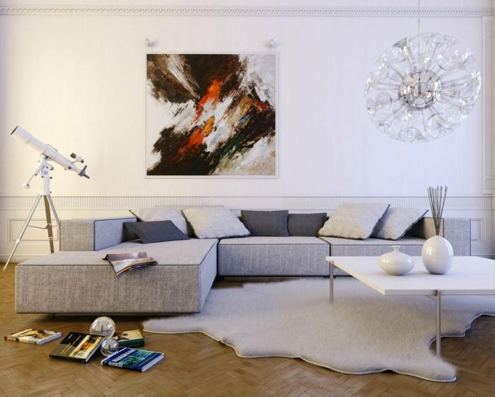 kleine wohnung einrichten weiße wände fellteppich graues sofa kissen teleskop