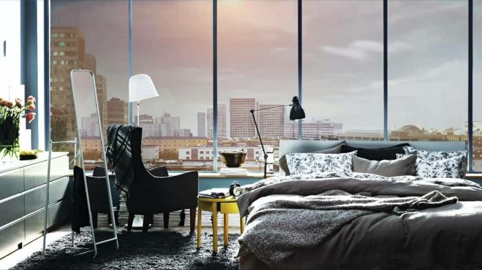 kleines schlafzimmer gestalten schlafzimmer gardinen indireckte beleuchtung hell sstilvoll ikea17