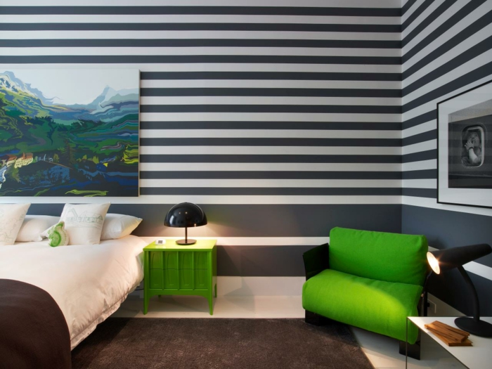 wandgestaltung mit farbe streifen schlafzimmer ~ kreative deko ... - Wandgestaltung Streifen Ideen
