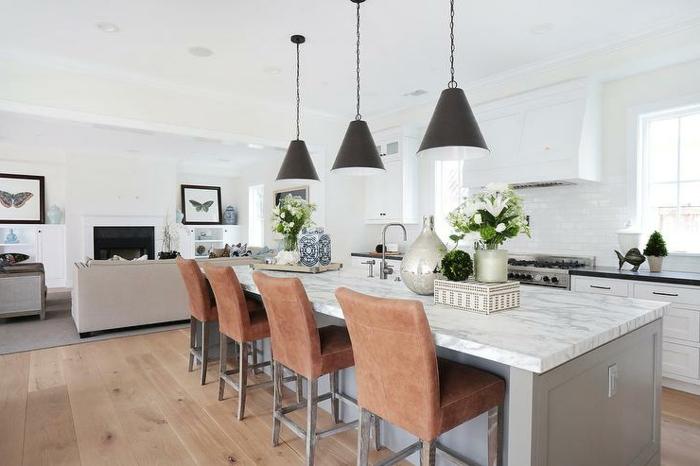 lampe küche hängelampen kücheninsel blumen