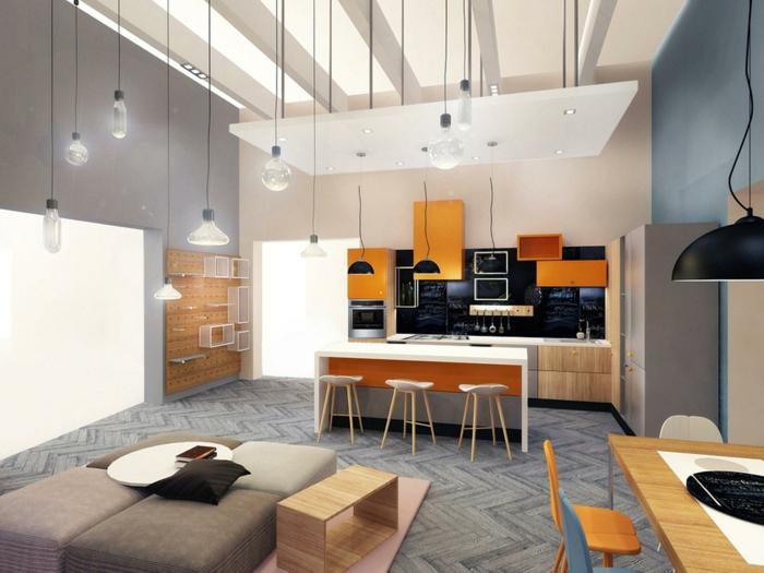 lampe küche hängelampen kücheninsel wohnbereich schwarze akzentwand