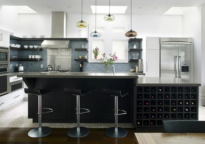 lampe küche kücheninsel beleuchtung offene wandregale
