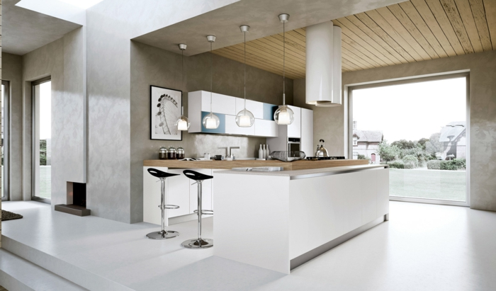 lampe küche moderne kücheninsel pendelleuchten weißer boden