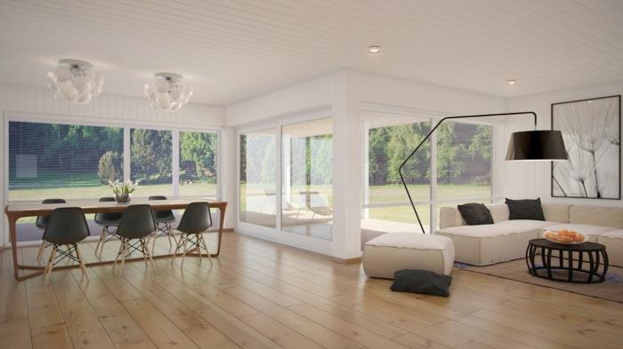 modern einrichten bereiche absondern offener wohnplan holzboden