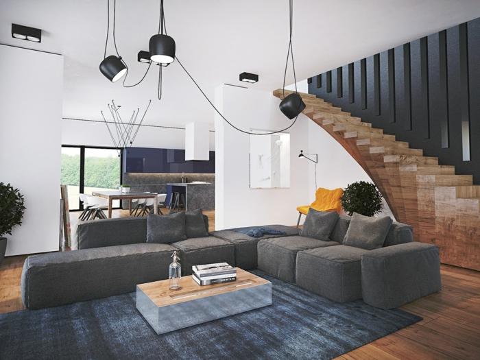 modern einrichten grauer teppich weiße wände treppen topfpflanzen