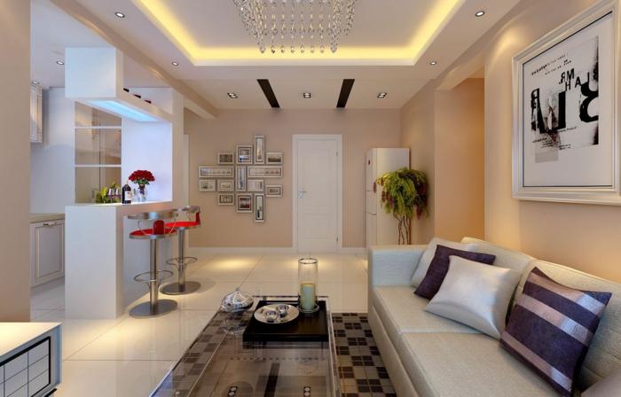 modern einrichten offener wohnplan bodenfliesen abgehängte decke led beleuchtung