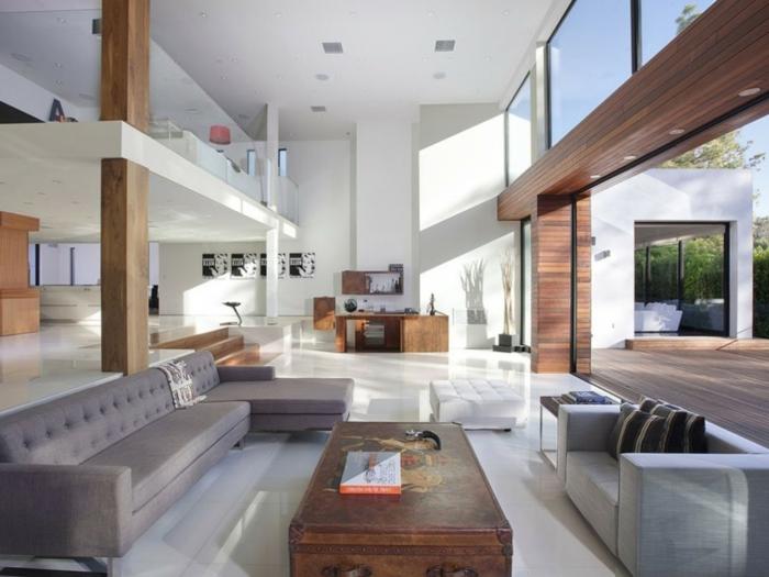 modern einrichten offener wohnplan schicke wohnzimmermöbel weißer boden