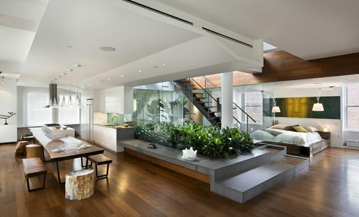 modern einrichten offener wohnplan schlafzimmer esszimmer grün