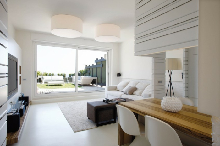 modern einrichten offener wohnplan wohnzimmer esszimmer glastüren