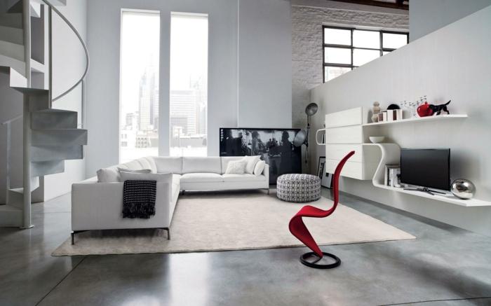 modern einrichten teppich roter sessel weiße wände moderne wohnwand