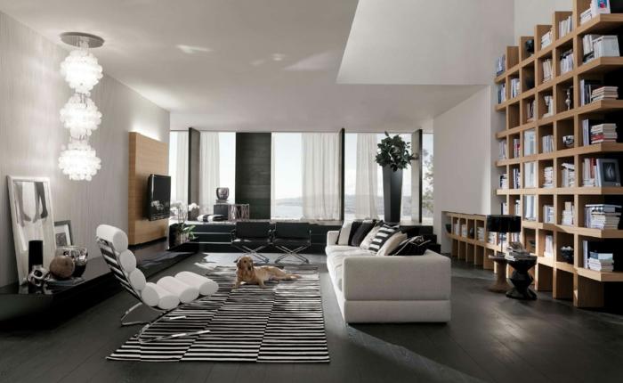 modern einrichten teppich streifen dunkler boden hängeleuchte spiegel