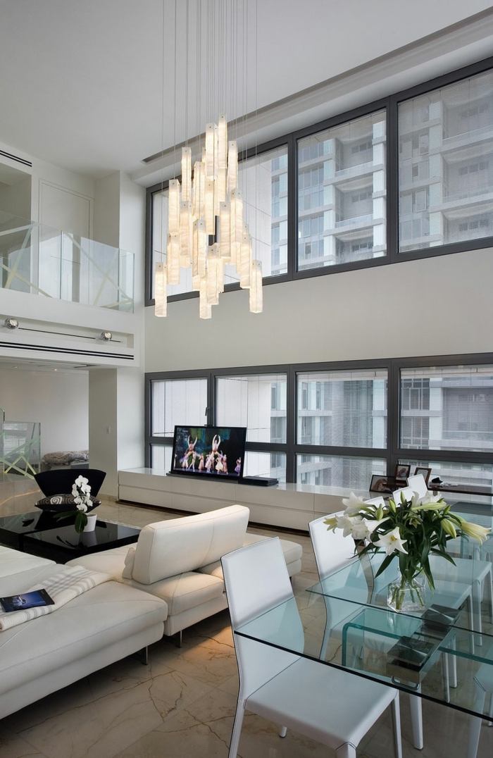 modern einrichten wohnzimmer essbereich glastisch offener wohnplan