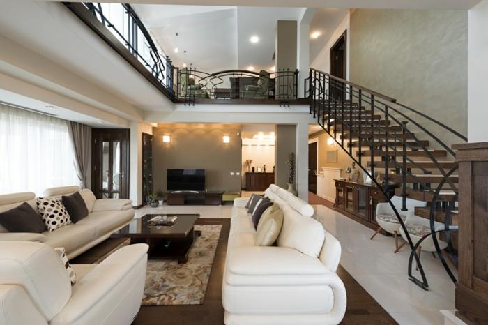 modern einrichten wohnzimmer modernes treppenhaus weiße möbel teppichmuster