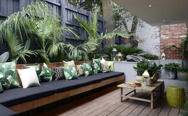 moderne-Terrassengestaltung-Bilder-Außenbereich-Gartenmöbel-Holz