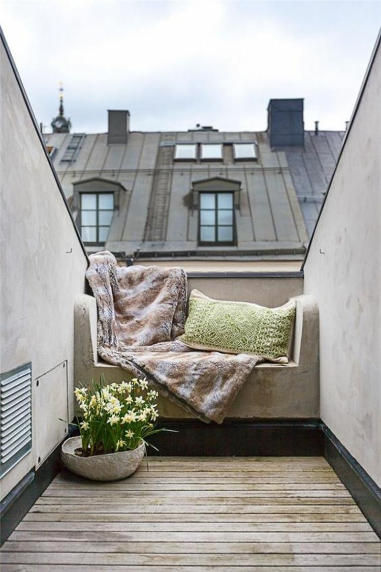 moderne Terrassengestaltung Bilder Balkonmöbel Beton und Holz