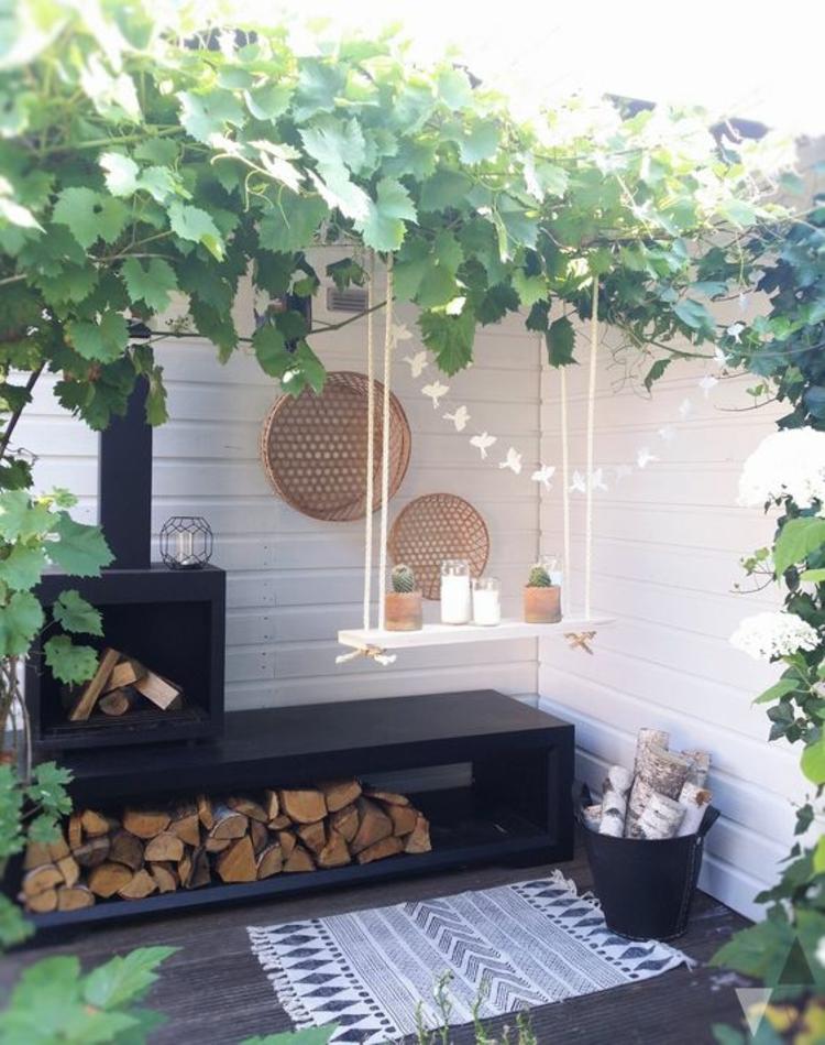 moderne Terrassengestaltung Bilder Balkonmöbel Brennholz