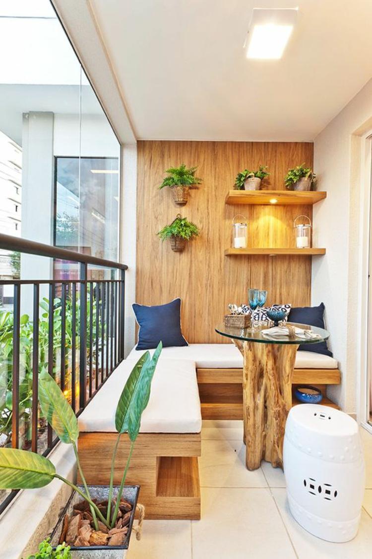 moderne Terrassengestaltung Bilder Balkonmöbel Holz Wandverkleidung
