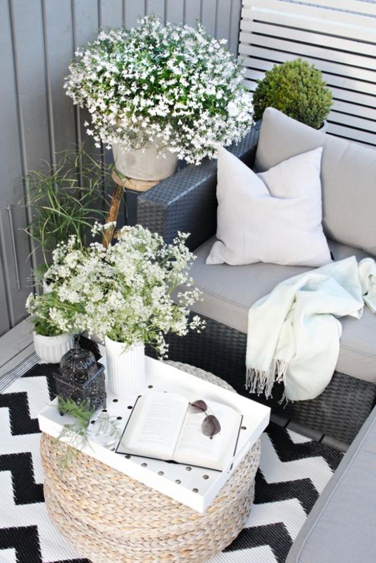 moderne Terrassengestaltung Bilder Balkonmöbel Rattan Tisch rund