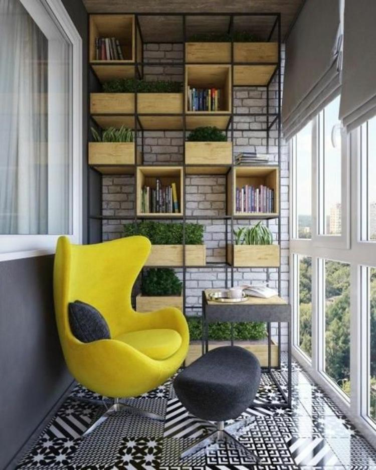 moderne Terrassengestaltung Bilder Balkonmöbel frische Farben Bücherregal