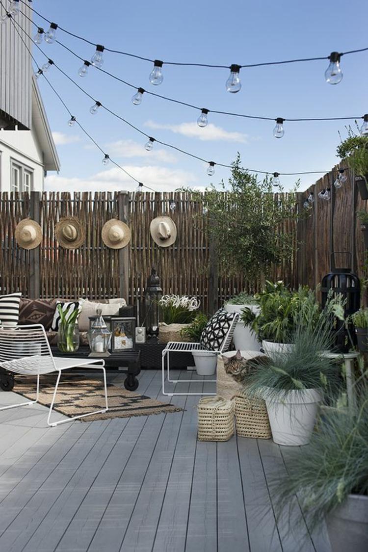 moderne Terrassengestaltung Bilder Einrichtungsbeispiele Bambus Sichtschutz