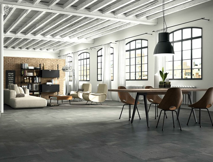 Perfekt Wohnzimmer Fliesen U2013 86 Beispiele, Warum Sie Den Wohnzimmerboden Mit Fliesen  Verlegen ...