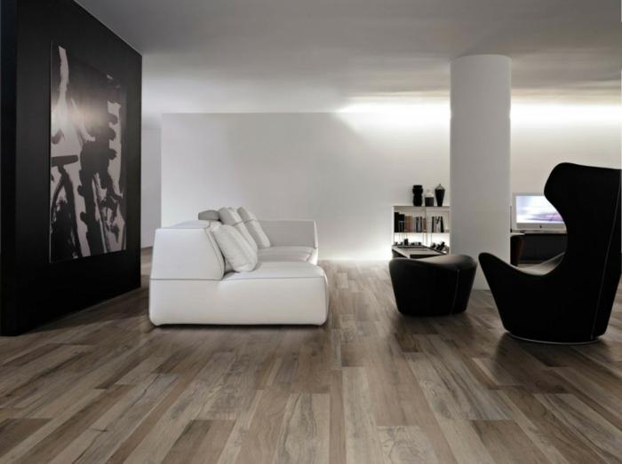 moderne bodenbeläge wohnzimmer keramische bodenfliesen weiß schwarzes interieur