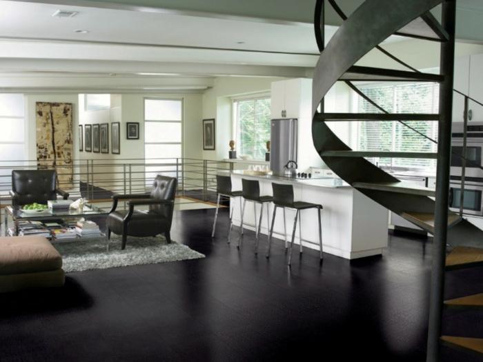moderne bodenbeläge wohnzimmer schwarze bodenfliesen bereiche absondern