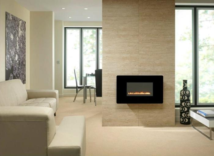 moderne feuerstellen wand befestigt wohnideen wohnzimmer