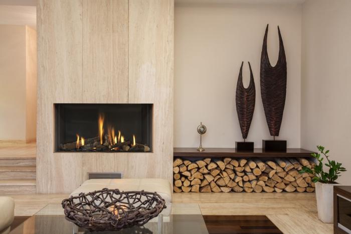 moderne feuerstellen wohnbereich hölzerne wände accessoires