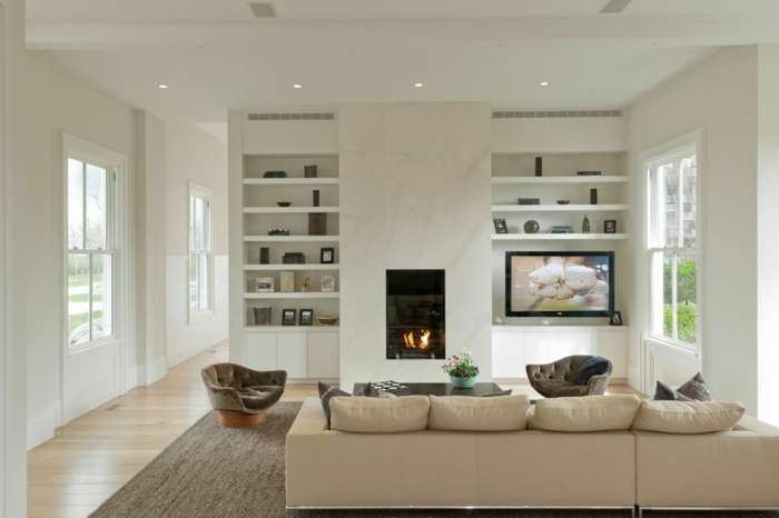 feuerestellen wohnzimmer minimalistisch helles ambiente