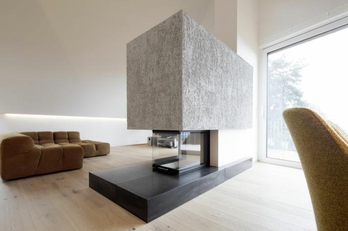 moderne feuerstellen wohnzimmer eyecatcher geräumig holzboden