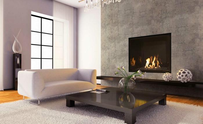 moderne feuerstellen wohnzimmer graue wand weißer teppich blumen