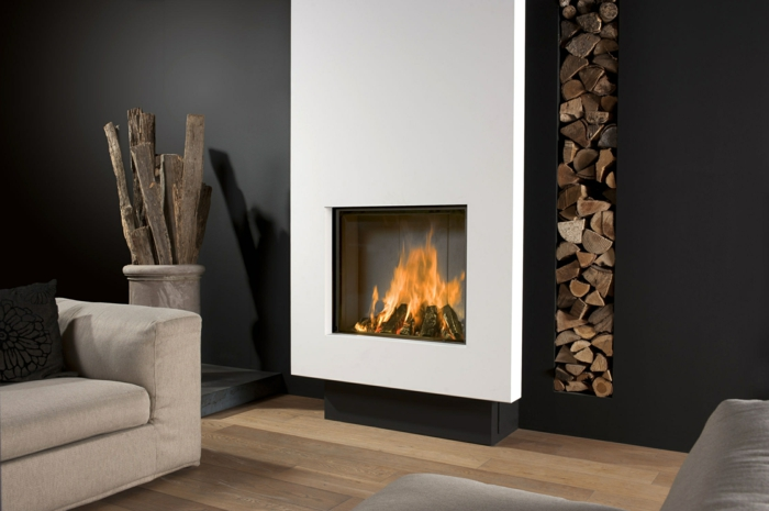 moderne feuerstellen wohnzimmer weiß schwarz