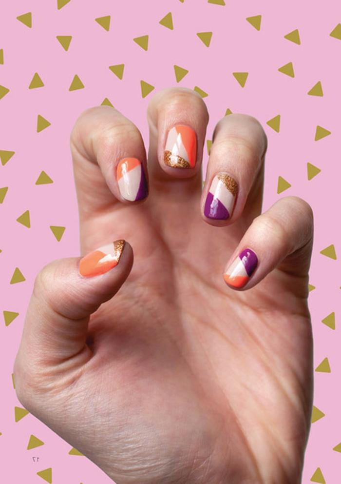 nageldesign fotos farbiger nagellack geometrisches muster