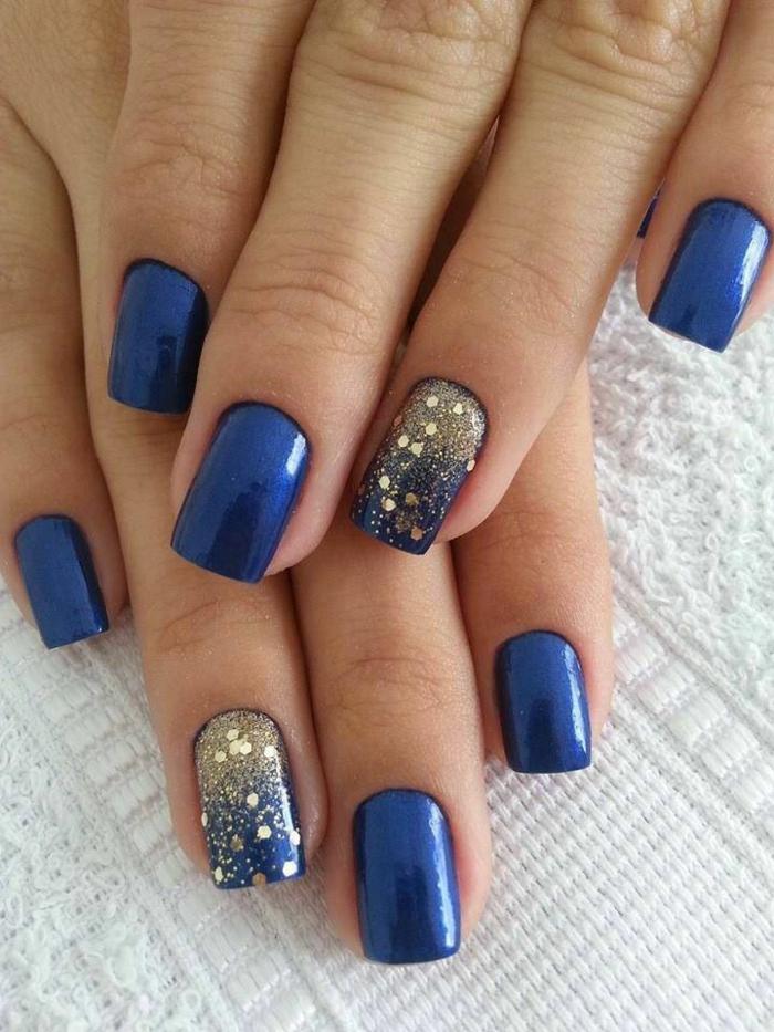 nagellack ideen blau golden stilvoll