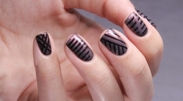 nagellack ideen elegant dunkle schattierungen geometrisch